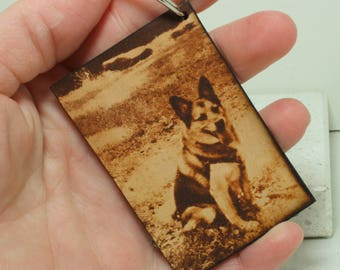 Personalized Rectangle photo  key chain leather gift Custom Message