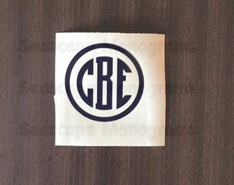 Circle Border Monogram Decal - Small Monogram Decal - Medium Monogram Decal - Personalized Vinyl Decal