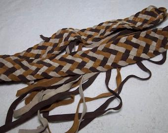 Vintage Suede Leather Weaved Self Tie Belt