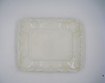 White on White Italian Stoneware Platter, by Elios, Blind Embossed and Heavy