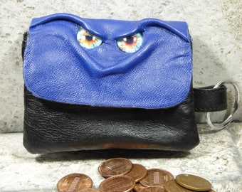 Zippered Coin Purse Blue Black Leather Change Purse Monster Face Pouch Key Ring Harry Potter Labyrinth 6