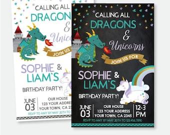 Dragon and Unicorn Birthday Invitation, Siblings Invitation, Magical Birthday Party, Personalized Printable Invitation, 2 Options