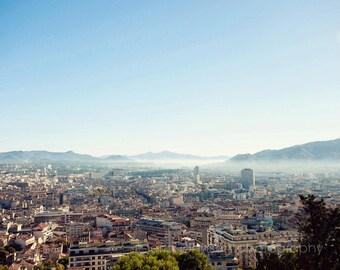 france photography, europe, landscape photograph, travel, blue decor, blue wall art, City of Marseille MF04