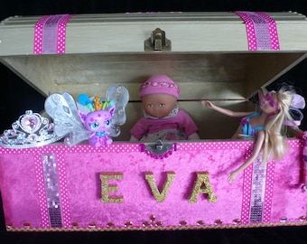 Large chest has toy for little Princess with Crown
