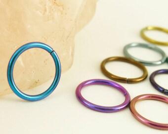 1 Hoop - Colorful Niobium Hypoallergenic Earring Hoops - 18 gauge 10mm OD - You Pick the Color