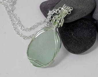 Wire Wrapped Pale Green Sea Glass Pendant in Sterling Silver with Whale Tale Charm