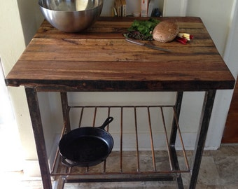 Reclaimed Wood Kitchen Island/Butcher Block Built to Order * FREE SHIPPING