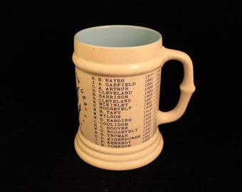 President Mug Vintage Stoneware Shows Name and Dates of US Presidents up to Nixon Gift Politics History