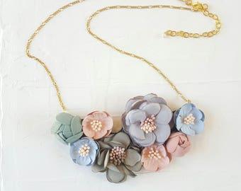 Flower Necklace, Fabric Necklace, Necklaces For Women, Statement Necklaces, Vintage Bib Necklace, Romantic Necklace, Pastel Necklace