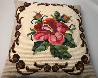 Beautiful Norwegian handmade embroidered floral cushion/pillow from the 60s