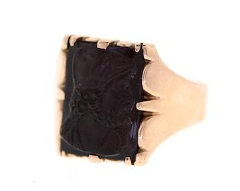 Vintage Mens Warrior Ring, Rose Gold Carved Agate Ring, Mens Agate Signet Ring