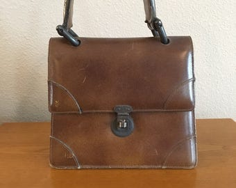 Vintage Lesco Lona Leather Handbag- 1950's Brown Leather Purse- Structured Leather Bag