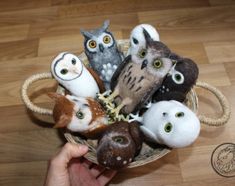 Made to order (this very item is alredy SOLD) Miniature owl figurines, Needle felted small owl, Forest owlet, Saw whet owl, Mini owl
