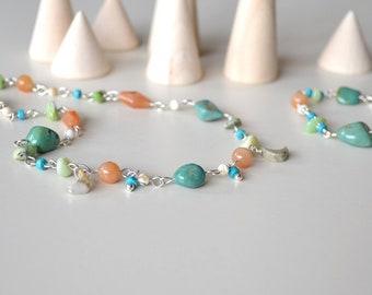 Necklace Bracelet Set, Green Turquoise Jewelry, Orange Carnelian Jewelry, Blue Orange Jewelry