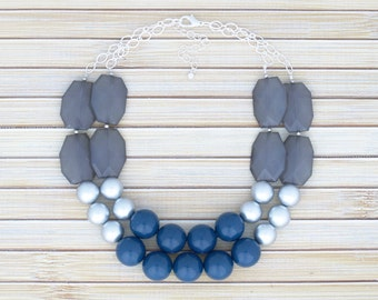 Double Strand Layer Statement Necklace, Navy Blue Bib Beadwork Oversized Bead Necklace, Bridesmaid Jewelry, Navy Blue Jewelry, Gift under 50