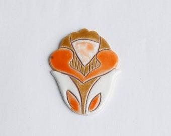 Handmade Ceramic Brooch in Modern style