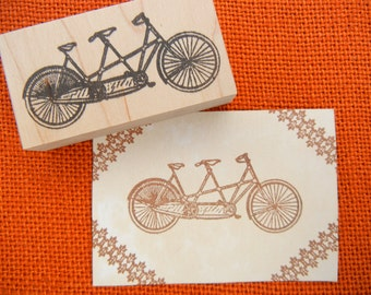 Tandem Bike Bicycle  Rubber Stamp  - LARGE - Handmade by BlossomStamps