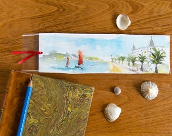 Original watercolor bookmark of  the French riviera, Promenade des Anglais, Hotel Negresco, palm trees along the beach