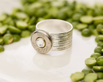 Bullet Casing Jewelry - Simple Adjustable Wide Band Bullet Ring (45)