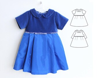 JULIETTE Girl Baby Girl Dress sewing pattern Pdf, Woven Dress pattern Short and Long Sleeves, toddler, newborn up to 10 yrs