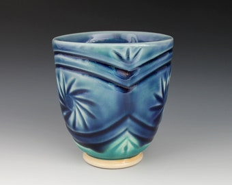 handmade cup with multiple food-safe glazes