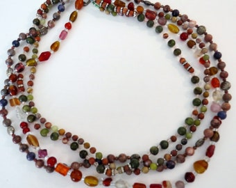 Red orange multistrand beaded necklace