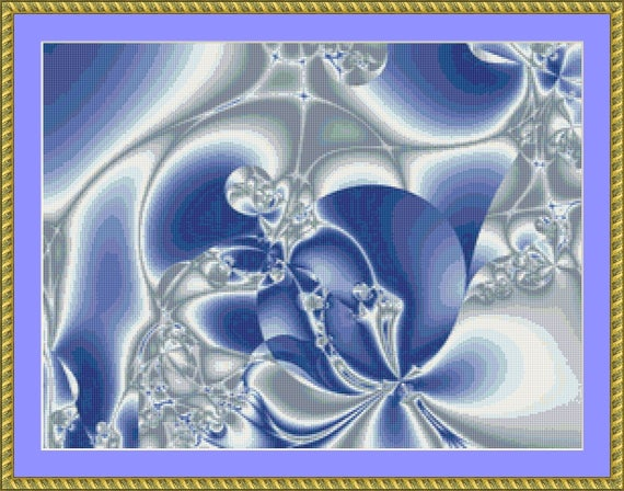Beautiful Blues Cross Stitch Pattern /Digital PDF Files /Instant downloadable