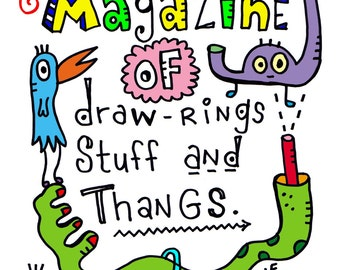 PDF Magazine of Drawings Stuff and Thangs Coloring Book and Story - Silly Instant Printable Coloring Book for Kids