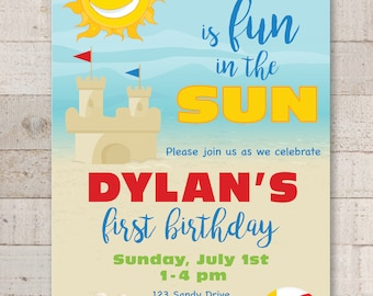 1st Birthday Party Invitations, One is Fun In The Sun Invitations, Beach Invitations, Pool Party Invites, Sunshine, Sandcastle - Set of 10
