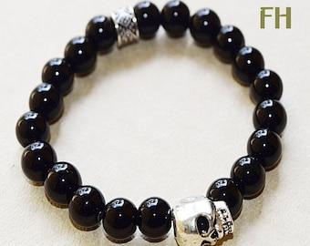 Skull Bracelet, Black Jasper Bracelet, Gemstone Bracelet, Gothic Bracelet, Healing Bracelet, Skull Jewelry, Gothic Jewelry, Rocker Jewelry
