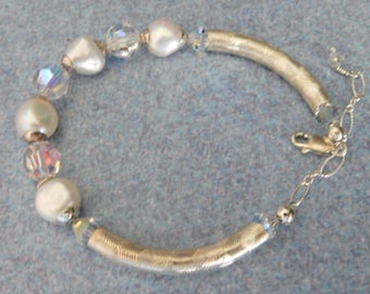 Pearl and Swarvoski Crystal Bracelet with Sterling Silver Tubes