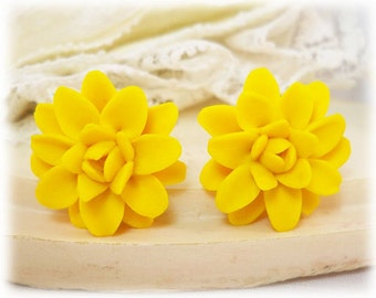 Yellow Dahlia Earrings Stud or Clip On - Dahlia Jewelry