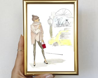 Watercolor and Sharpie Fashion Illustration - NYC Girl - Framed Print