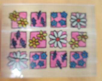 """Whispers Sugarloaf Productions Rubber Stamp  """"squares with flowers"""" slightly used fair condition"""