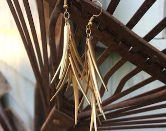 Gold Spike Tine Dangle Earrings for Sensitive Ears