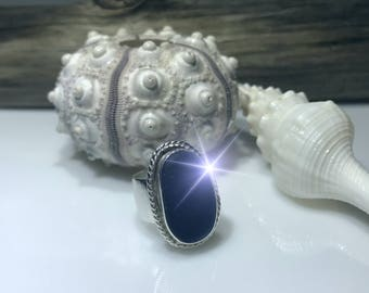 Cobalt Sea Glass Ring - Beach Glass - Sea Glass - Silver Rings - Sterling Silver