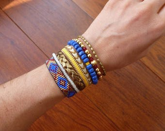 Colorful Multi strand Cuff Bracelet