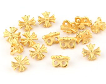 Gold Plated Cross Button Beads, Religion Beads, Religious Bead Spacers, 22k Gold Plated, 15 pieces // GB-099