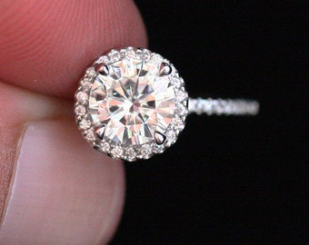 1.00ct Moissanite Diamond Halo Engagement Ring Brilliant Moissanite Round 6.5mm and Diamond (Comes with Original Certificate)