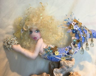 "OOAK Mermaid Art Doll Soft Sculpture Cloth Doll Sea Maiden Art Doll ""Madeliefje"""