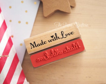Made with Love Wooden Rubber Stamp