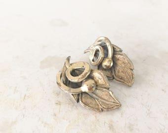 Vintage Designer Tortalani Serpent Stem Leaf Earrings