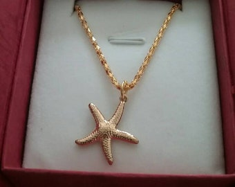 14 k gold plated necklace with star charm