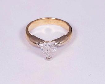14K Yellow Gold Diamond Trillion Cut Ring, size 4.25