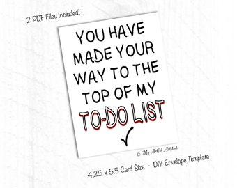 PRINTABLE Card, Dirty Valentines, Naughty Birthday Card Boyfriend, To Do List, Girlfriend, Inappropriate Love