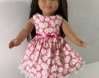 American Doll Dress Pink and White Daisys