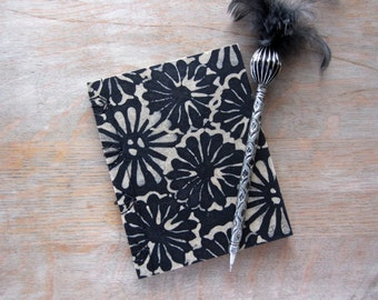 Softcover Journal or Sketchbook, 6x4.75 inches, Black Batik Mums, unlined pages, Ready to Ship