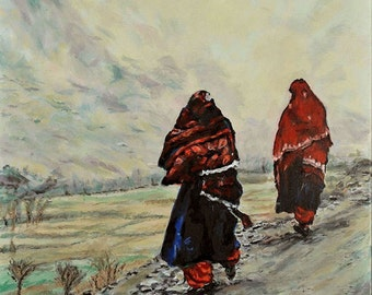 In Afghanistan, An Original Painting Of Afghani Women, 20 x 20 inches
