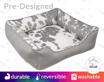Grey & White Faux Cowhide Dog Bed with Name Embroidery - Faux Fur, Country, Silver - Washable, Reversible and High Quality