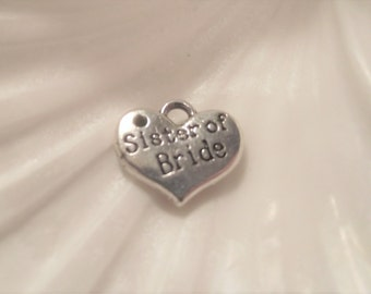 SISTER of BRIDE CHARMS,6 Piece Antique Silver Heart Destash,Tibetan Silver Hearts,Charms,Jewely Supply,Silver Sister of Bride Heart Charms